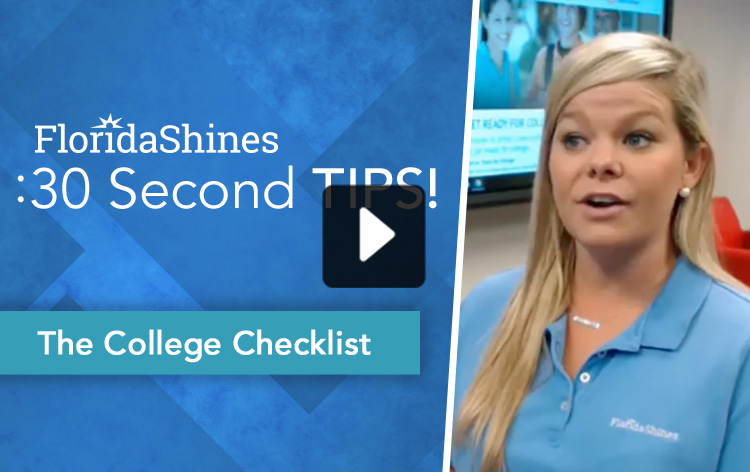 FloridaShines 30 Second Tip - The College Checklist Video Thumbnail