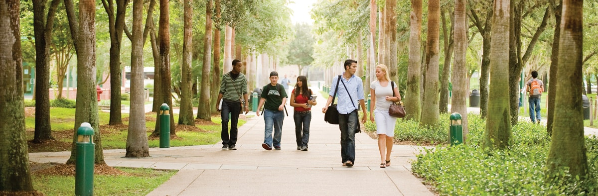 University of South Florida college students walking on campus